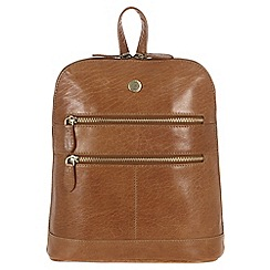 Conkca London - Dark tan 'Florence' handcrafted waxed leather backpack