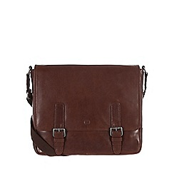 Conkca London - Conker brown 'Postie' handcrafted waxed leather satchel