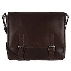 Conkca London - Dark brown 'Postie' handcrafted waxed leather satchel