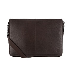 Conkca London - Dark brown 'Croft' handcrafted leather messenger bag