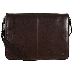 Conkca London - Darkest brown 'Croft' handcrafted leather messenger bag