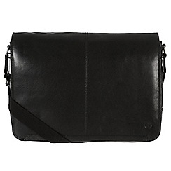 Conkca London - Black 'Croft' handcrafted waxed leather messenger bag