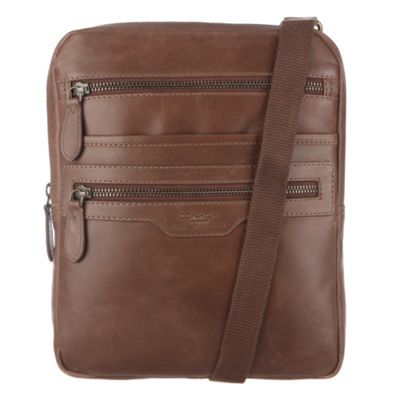 Conkca London Brown ´Bader´ veg-tanned leather cross-body bag - . -