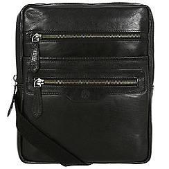 Conkca London - Black 'Bader' handcrafted waxed leather despatch bag