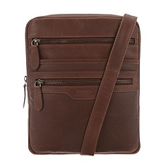 Conkca London - Conker brown 'Bader' vintage leather small travel cross-body bag