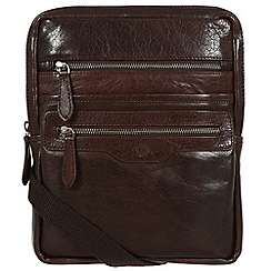 Conkca London - Darkest brown 'Bader' handcrafted leather despatch bag
