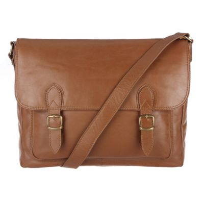 Conkca London Chestnut ´Baker´ veg-tanned leather satchel - . -