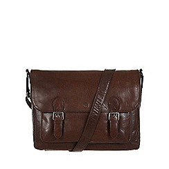 Conkca London - Darkest brown 'Baker' leather satchel