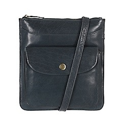 Conkca London - Denim blue 'Lilia' handcrafted waxed leather bag