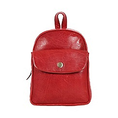 Conkca London - Cranberry 'Eliza' handcrafted waxed leather mini backpack
