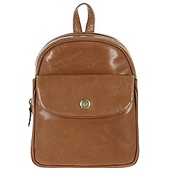 Conkca London - Dark Tan 'Eliza' handcrafted waxed leather mini backpack