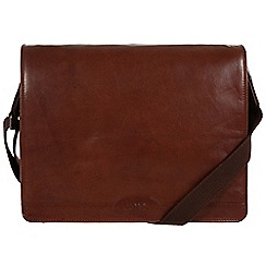 Conkca London - Conker brown 'Darwin' leather messenger bag