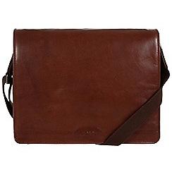 Conkca London - Conker brown 'Darwin' leather messenger bag