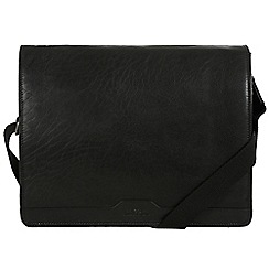 Conkca London - Oxford black 'Darwin' leather messenger bag