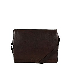 Conkca London - Darkest brown 'Darwin' leather messenger bag