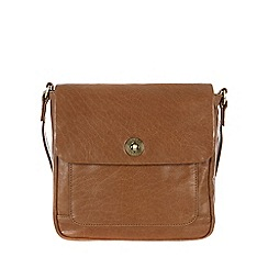 Conkca London - Dark tan 'Nina' handcrafted waxed leather bag