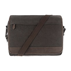 Conkca London - Slate 'Fitzrovia' vintage canvas and leather messenger bag