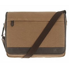 Conkca London - Bark brown 'Fitzrovia' canvas and vintage leather messenger bag