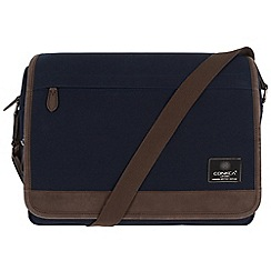 Conkca London - Navy 'Fitzrovia' canvas and leather messenger bag