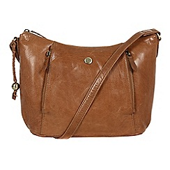 Conkca London - Dark tan 'Emilia' handcrafted leather cross body hobo bag