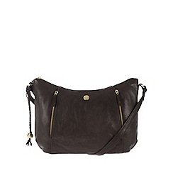 Conkca London - Conker brown 'Emilia' tumbled leather cross-body bag