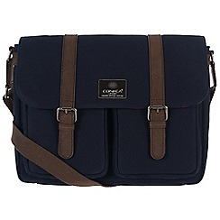 Conkca London - Navy 'Borough' canvas and leather satchel