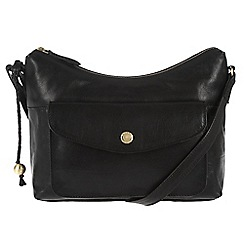 Conkca London - Oxford black 'Angel' handcrafted leather cross-body bag