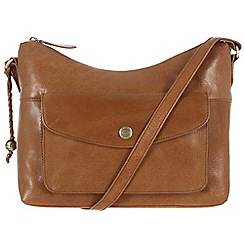 Conkca London - Dark tan 'Angel' handcrafted waxed leather bag