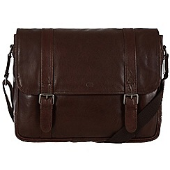 Conkca London - Dark brown 'Livingstone' handcrafted leather satchel