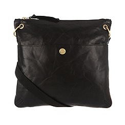Conkca London - Antique black 'Odella' handcrafted leather cross-body bag
