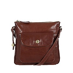 Conkca London - Conker brown 'Shirley' handcrafted leather across body bag