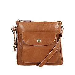 Conkca London - Dark tan 'Shirley' handcrafted leather across body bag