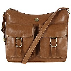 Conkca London - Dark tan 'Nightingale' handcrafted waxed leather bag