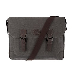 Conkca London - Slate grey 'Soho' canvas and leather satchel