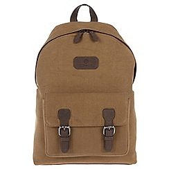 Conkca London - Vintage bark brown 'Bowland' canvas and leather backpack