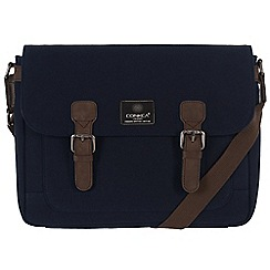 Conkca London - Navy 'Soho' canvas and leather satchel