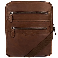Conkca London - Dark brown 'Hoya' natural leather despatch bag