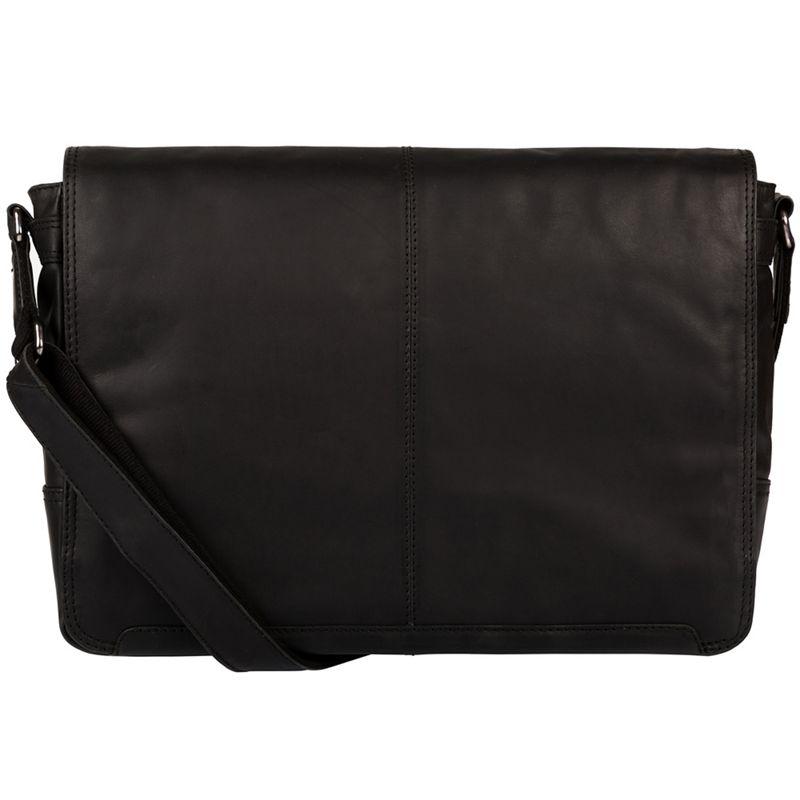 Conkca London - Black Bermondsey Fine Leather Messenger Bag