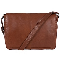 Conkca London - Conker brown 'Bermondsey' handcrafted leather messenger bag
