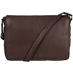 Conkca London - Dark brown 'Bermondsey' handcrafted leather messenger bag