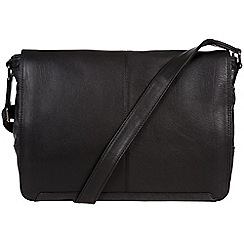 Conkca London - Oxford black 'Bermondsey' handcrafted leather messenger bag