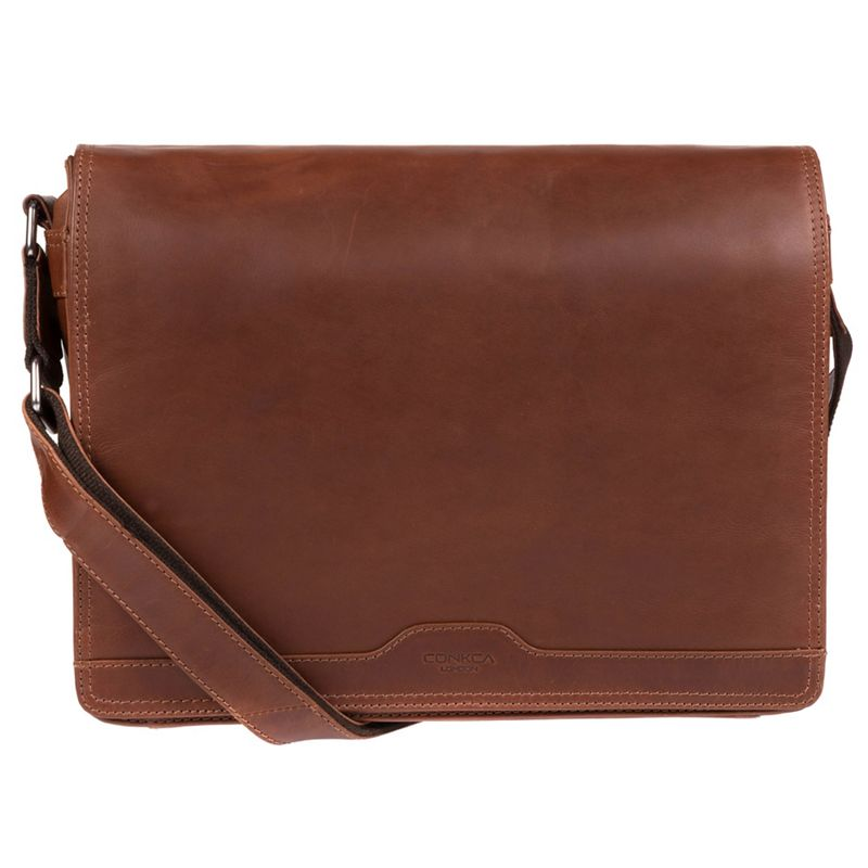 Conkca London - Conker Brown Islington Handcrafted Leather Messenger Bag