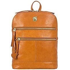 Conkca London - Cognac 'Francisca' handcrafted leather backpack