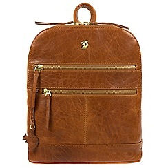 Conkca London - Dark tan 'Francisca' handmade leather backpack