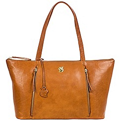 Conkca London - Cognac 'Clover' handcrafted leather shoulder bag