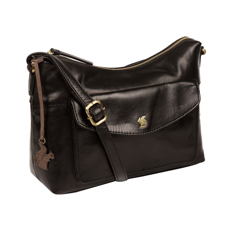 Conkca London Black Alana handmade leather hobo bag