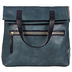 Conkca London - Denim blue and navy 'Anoushka' handcrafted leather bag