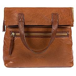 Conkca London - Dark tan and conker brown 'Anoushka' handmade leather backpack