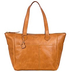 Conkca London - Cognac 'Harp' handcrafted leather hand bag