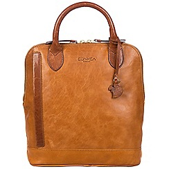 Conkca London - Cognac and conker brown 'Camille' handcrafted leather backpack